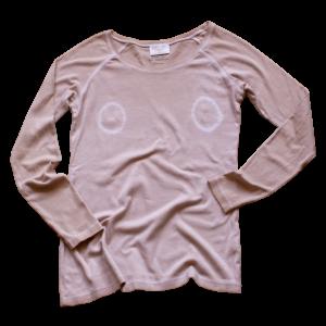 T-shirt rose couleurs tétons teinture naturelle